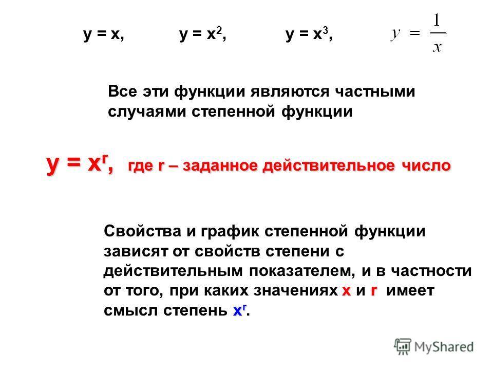 Все эти функции являются частными случаями степенной функции у = х r, где r – заданное действительное число у = х r, где r – заданное действительное число хr х r Свойства и график степенной функции зависят от свойств степени с действительным показате