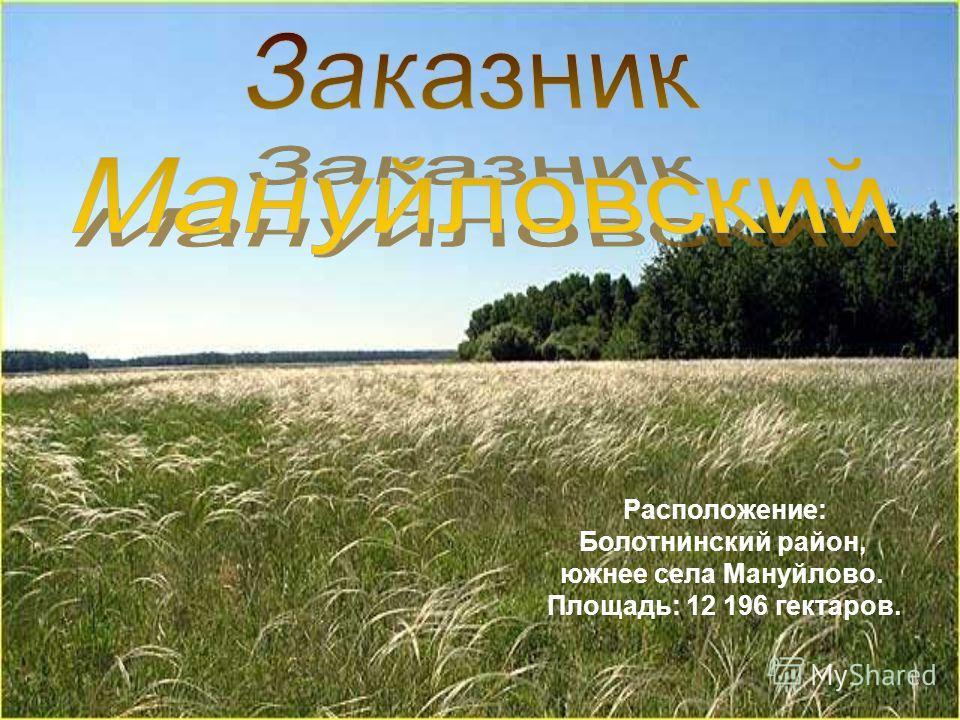Расположение: Болотнинский район, южнее села Мануйлово. Площадь: 12 196 гектаров.