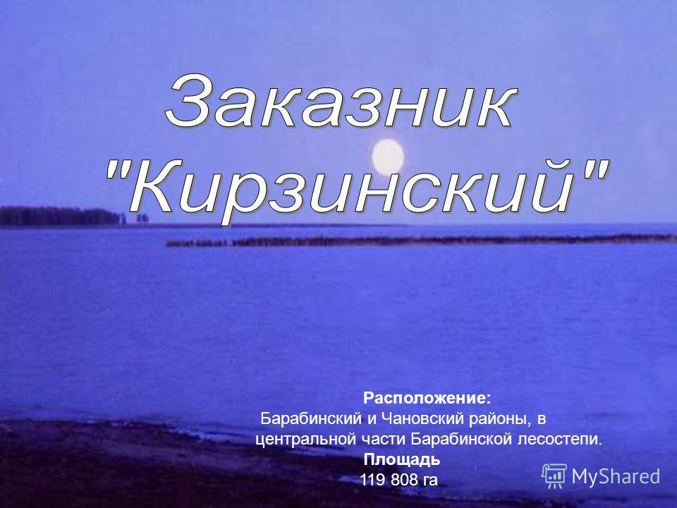 Расположение: Барабинский и Чановский районы, в центральной части Барабинской лесостепи. Площадь 119 808 га