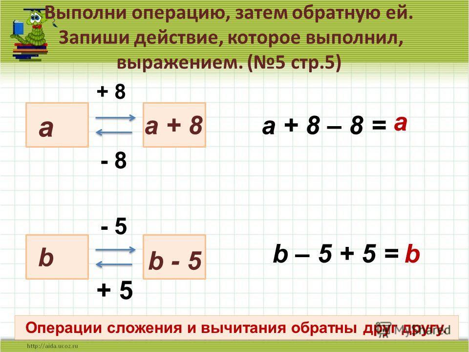 Выполни операцию, затем обратную ей. Запиши действие, которое выполнил, выражением. (5 стр.5) 7 a + 8 a + 8 - 8 a + 8 – 8 = a b b - 5 - 5 + 5 b – 5 + 5 = b Операции сложения и вычитания обратны друг другу.