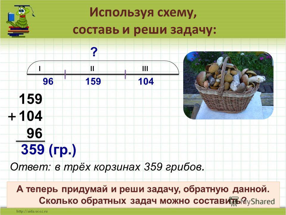 Используя схему, составь и реши задачу: 9 I II III 96 159 104 ? 159 104 96 + 359 (гр.) Ответ: в трёх корзинах 359 грибов. А теперь придумай и реши задачу, обратную данной. Сколько обратных задач можно составить?