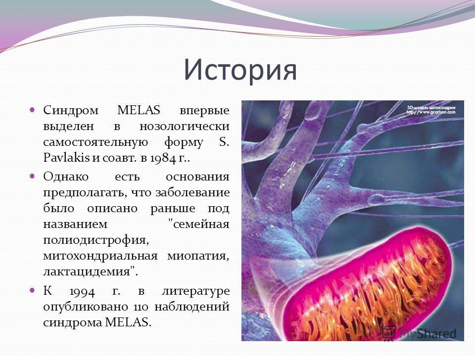 История Синдром MELAS впервые выделен в нозологически самостоятельную форму S. Pavlakis и соавт. в 1984 г.. Однако есть основания предполагать, что заболевание было описано раньше под названием