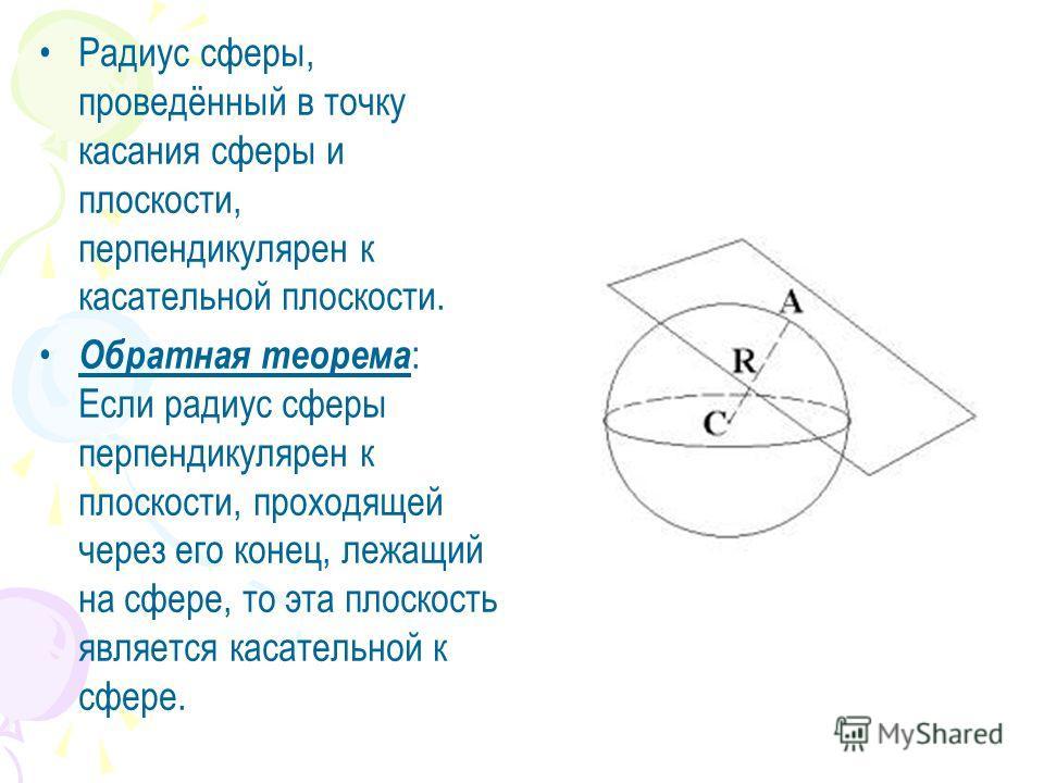 Радиус сферы, проведённый в точку касания сферы и плоскости, перпендикулярен к касательной плоскости. Обратная теорема : Если радиус сферы перпендикулярен к плоскости, проходящей через его конец, лежащий на сфере, то эта плоскость является касательно
