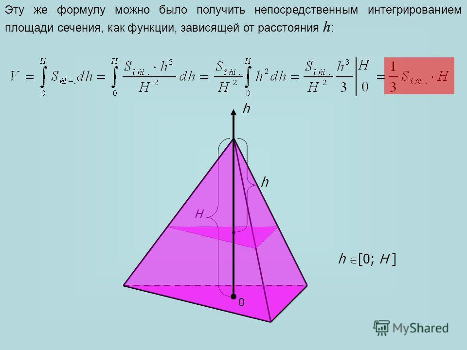 h H h Эту же формулу можно было получить непосредственным интегрированием площади сечения, как функции, зависящей от расстояния h : h [0; H ] 0