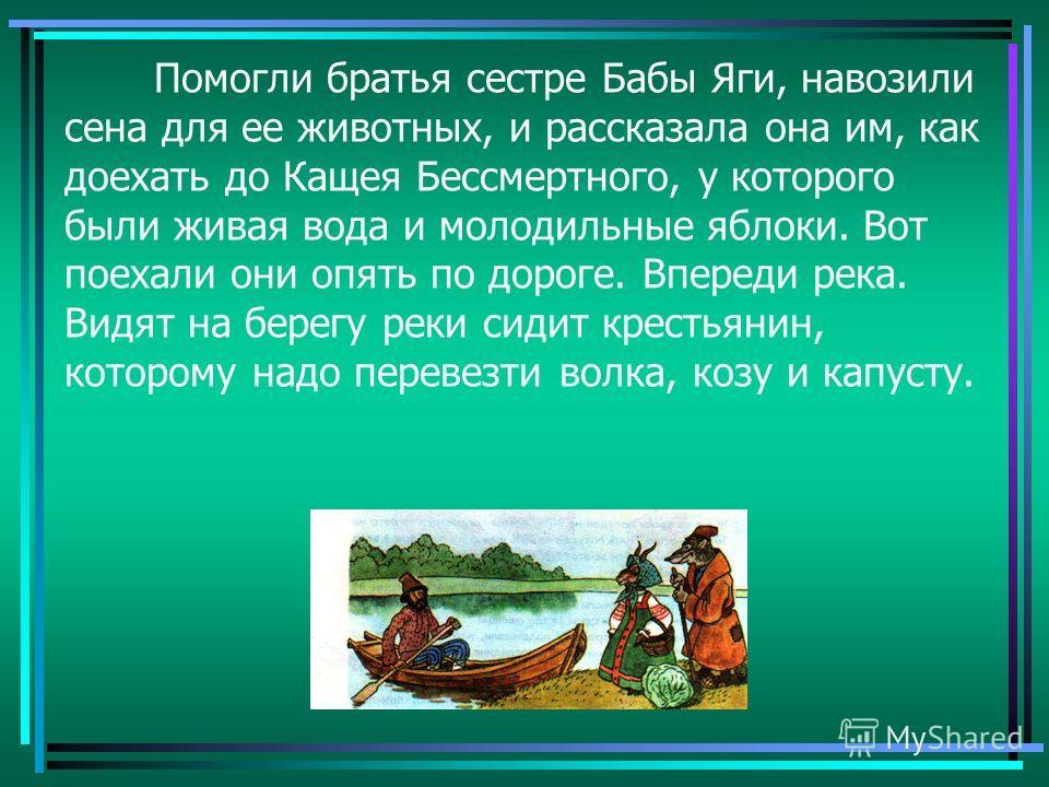 Помогли братья сестре Бабы Яги, навозили сена для ее животных, и рассказала она им, как доехать до Кащея Бессмертного, у которого были живая вода и молодильные яблоки. Вот поехали они опять по дороге. Впереди река. Видят на берегу реки сидит крестьян