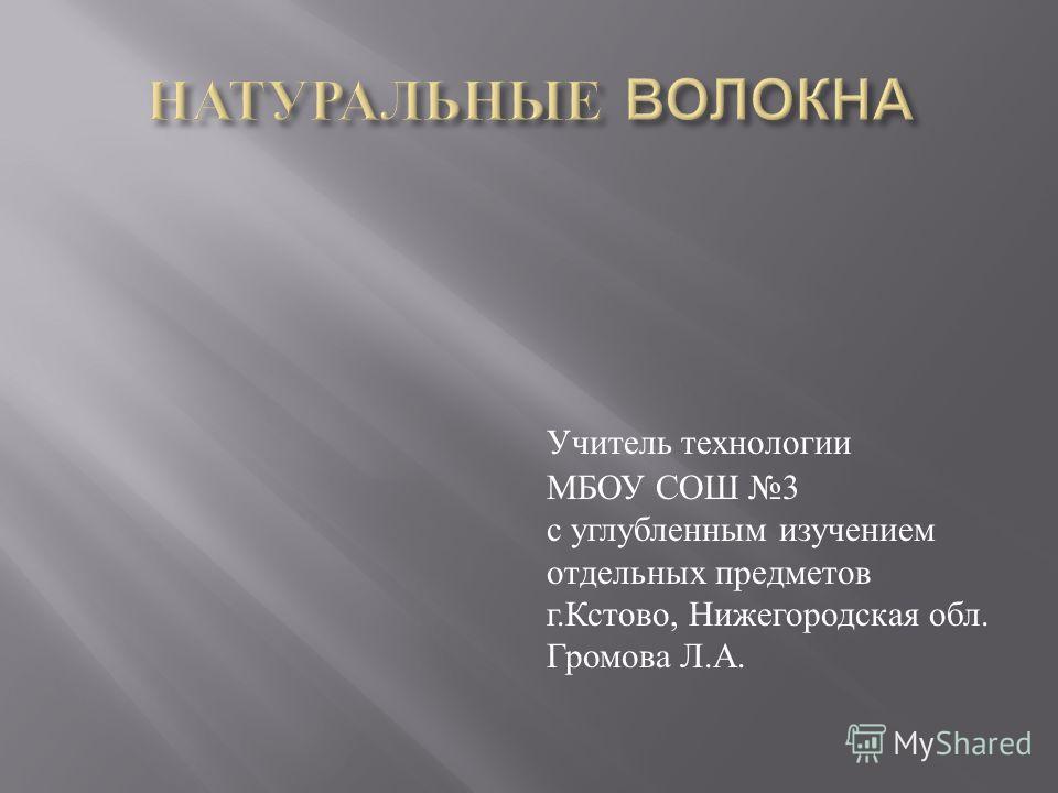 Учитель технологии МБОУ СОШ 3 с углубленным изучением отдельных предметов г. Кстово, Нижегородская обл. Громова Л. А.
