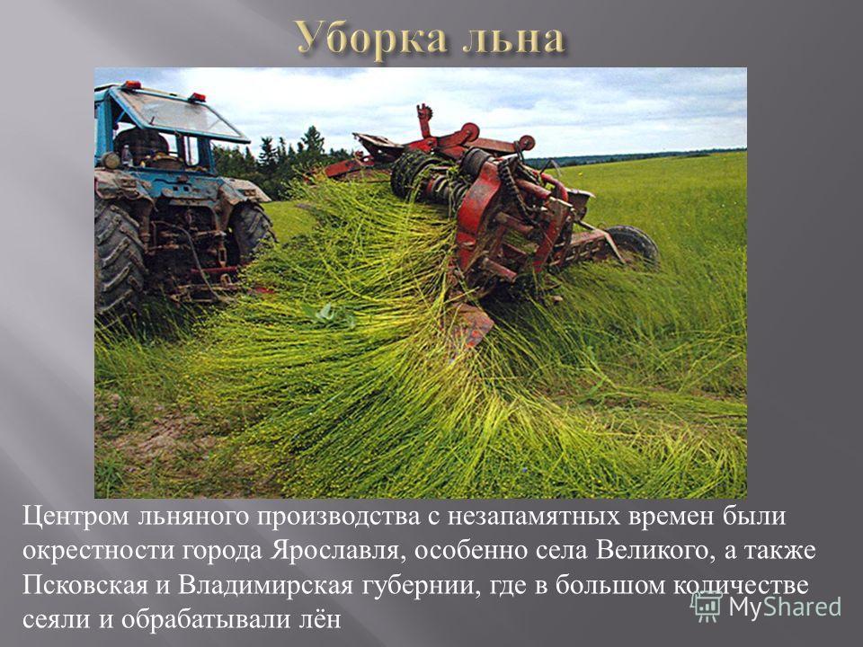 Центром льняного производства с незапамятных времен были окрестности города Ярославля, особенно села Великого, а также Псковская и Владимирская губернии, где в большом количестве сеяли и обрабатывали лён