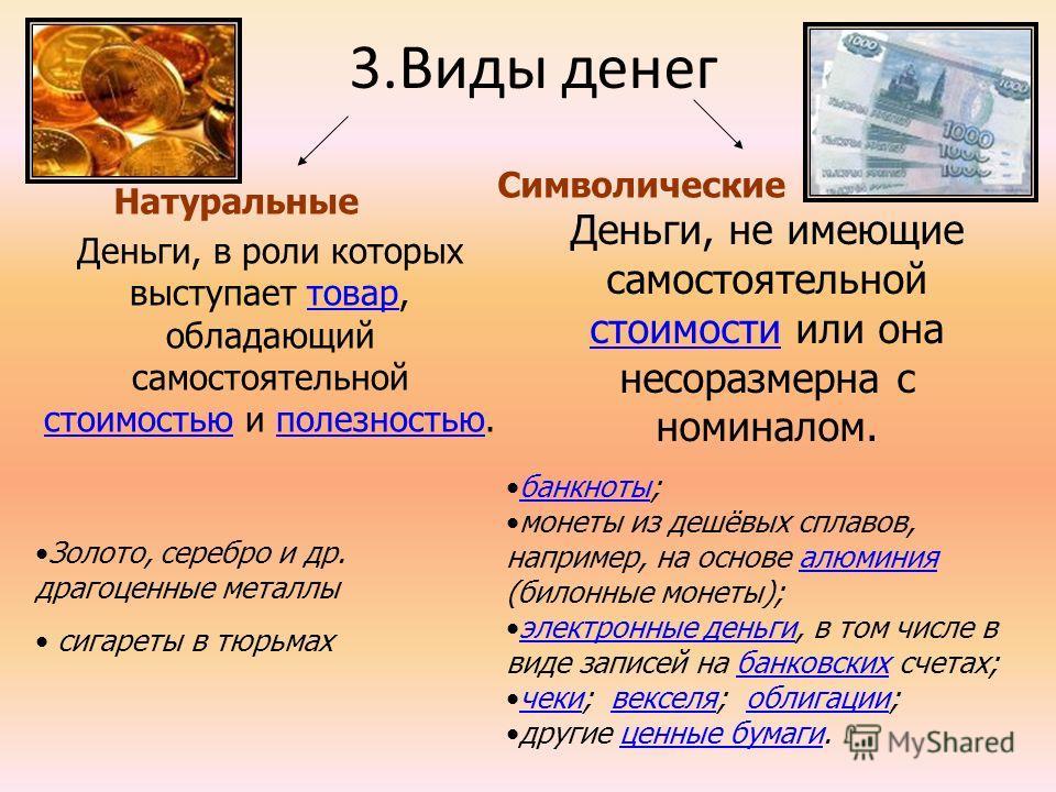 3.Виды денег Натуральные Символические Деньги, в роли которых выступает товар, обладающий самостоятельной стоимостью и полезностью.товар стоимостьюполезностью Деньги, не имеющие самостоятельной стоимости или она несоразмерна с номиналом. стоимости ба