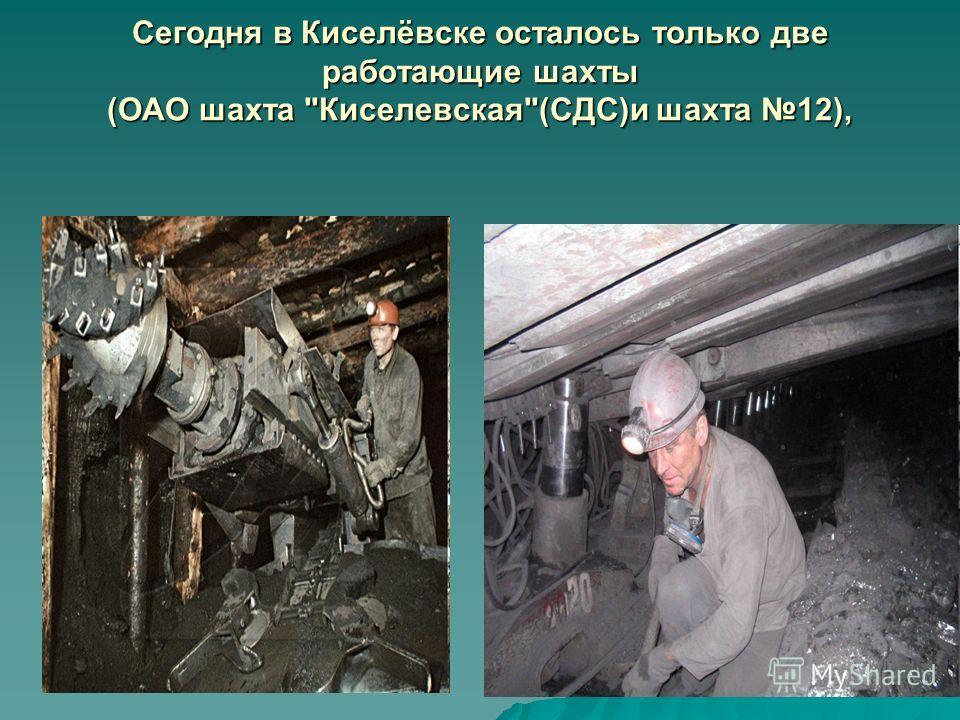 Сегодня в Киселёвске осталось только две работающие шахты (ОАО шахта Киселевская(СДС)и шахта 12),
