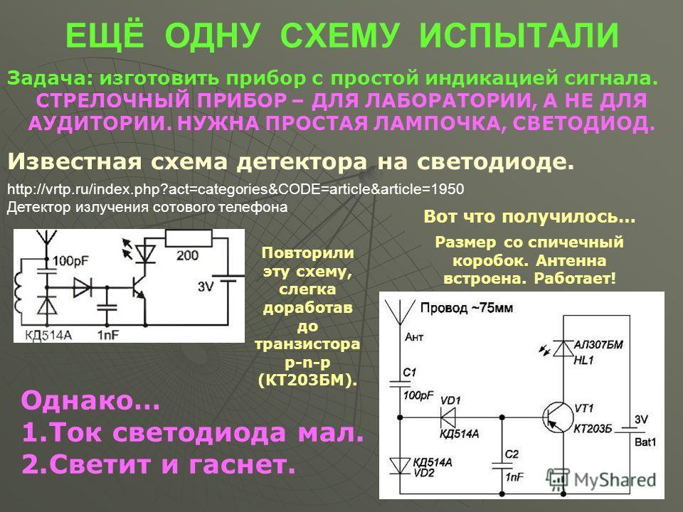 ЕЩЁ ОДНУ СХЕМУ ИСПЫТАЛИ Задача: изготовить прибор с простой индикацией сигнала. СТРЕЛОЧНЫЙ ПРИБОР – ДЛЯ ЛАБОРАТОРИИ, А НЕ ДЛЯ АУДИТОРИИ. НУЖНА ПРОСТАЯ ЛАМПОЧКА, СВЕТОДИОД. http://vrtp.ru/index.php?act=categories&CODE=article&article=1950 Детектор изл
