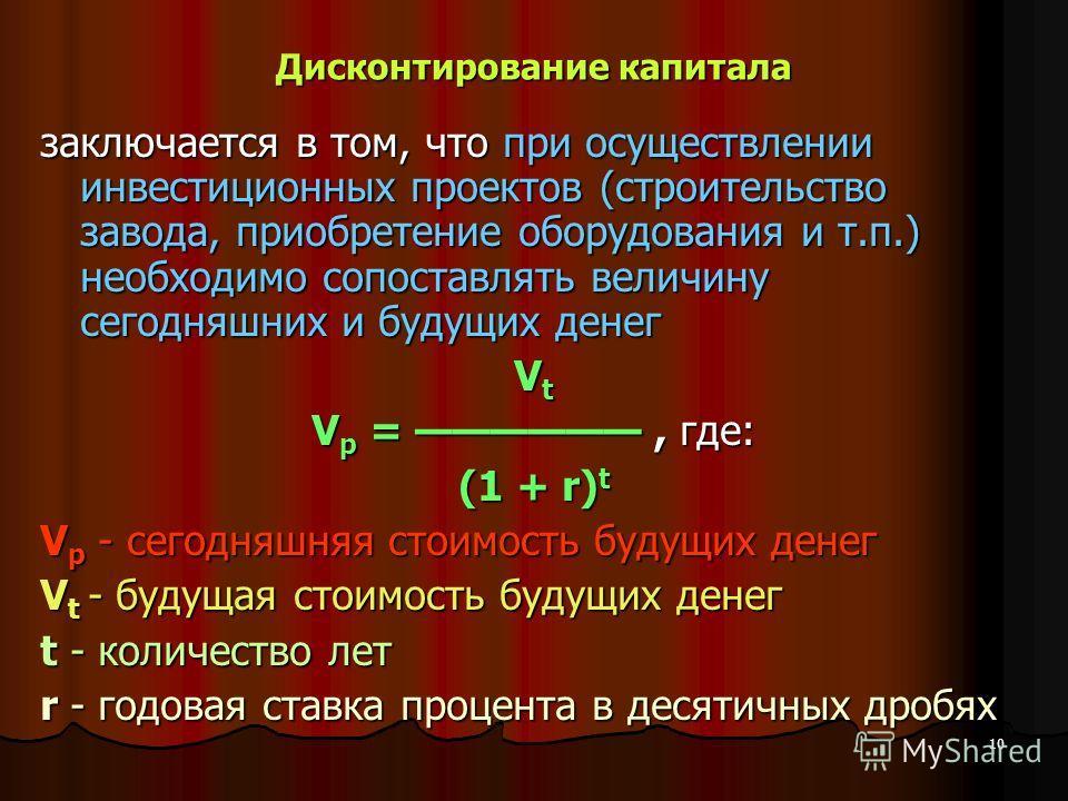 Дисконтирование капитала заключается в том, что при осуществлении инвестиционных проектов (строительство завода, приобретение оборудования и т.п.) необходимо сопоставлять величину сегодняшних и будущих денег VtVtVtVt V p =, где: (1 + r) t V p - сегод