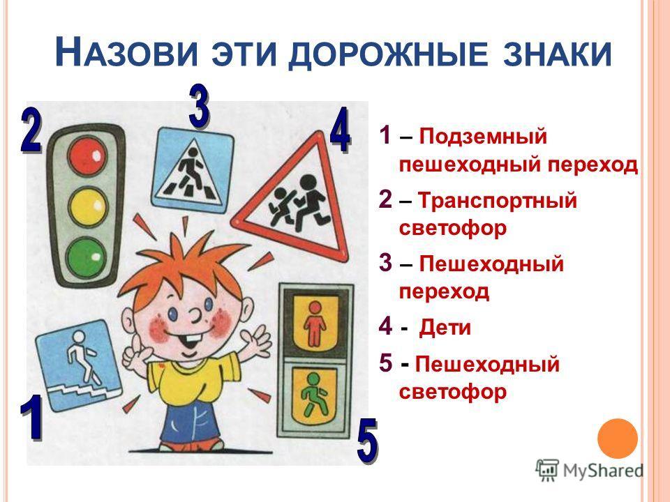 Н АЗОВИ ЭТИ ДОРОЖНЫЕ ЗНАКИ 1 – Подземный пешеходный переход 2 – Транспортный светофор 3 – Пешеходный переход 4 - Дети 5 - Пешеходный светофор