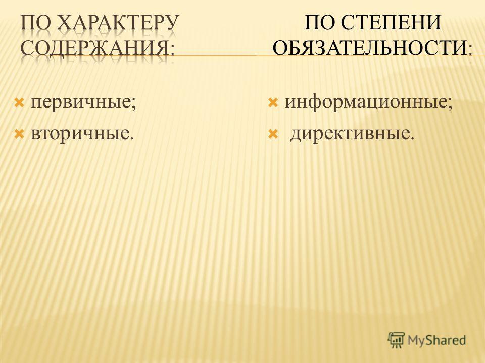 первичные; вторичные. информационные; директивные.