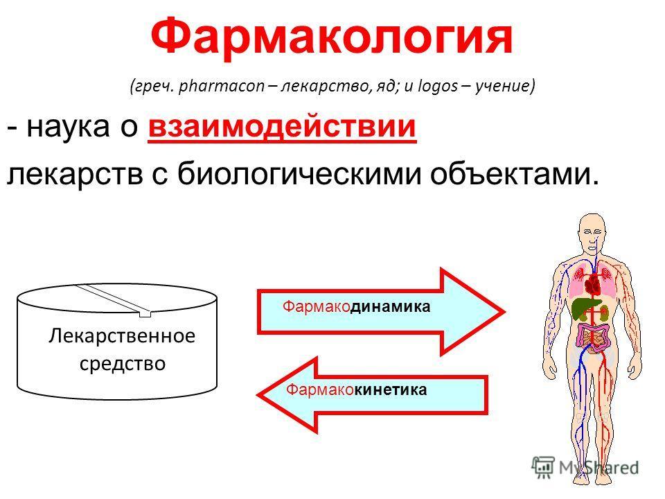Фармакология (греч. pharmacon – лекарство, яд; и logos – учение) - наука о взаимодействии лекарств с биологическими объектами. Лекарственное средство Фармакодинамика Фармакокинетика