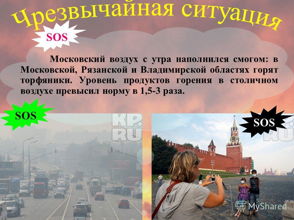 Московский воздух с утра наполнился смогом: в Московской, Рязанской и Владимирской областях горят торфяники. Уровень продуктов горения в столичном воздухе превысил норму в 1,5-3 раза. SOS