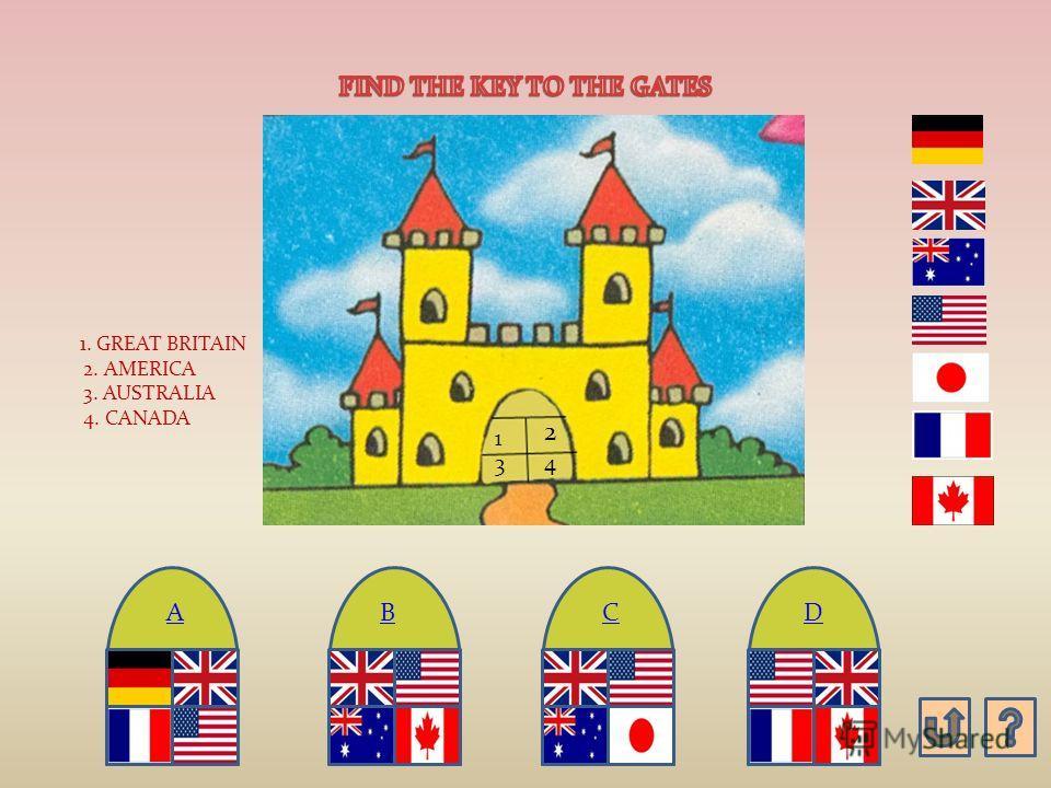 A) 1. GREAT BRITAIN 2. ENGLISH 3. AMERICA 4. AUSTRALIA 5. CANADA B) B) C) C) 1. GREAT BRITAIN 1. BRITAIN 2. AMERICA 2. ENGLISH 3. AUSTRALIA 3. AMERICA 4. CANADA 4. CANADA 5. AUSTRALIA D O G R E A T B R I T A IN O S E N G L I S H A IR A M E R I C A N