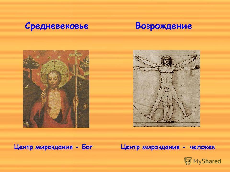 Средневековье Центр мироздания - Бог Возрождение Центр мироздания -человек