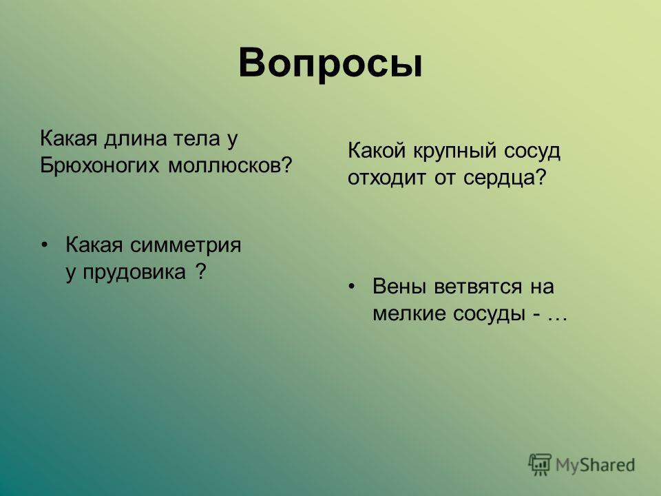 Вопросы Какая длина тела у Брюхоногих моллюсков? Какая симметрия у прудовика ? Какой крупный сосуд отходит от сердца? Вены ветвятся на мелкие сосуды - …
