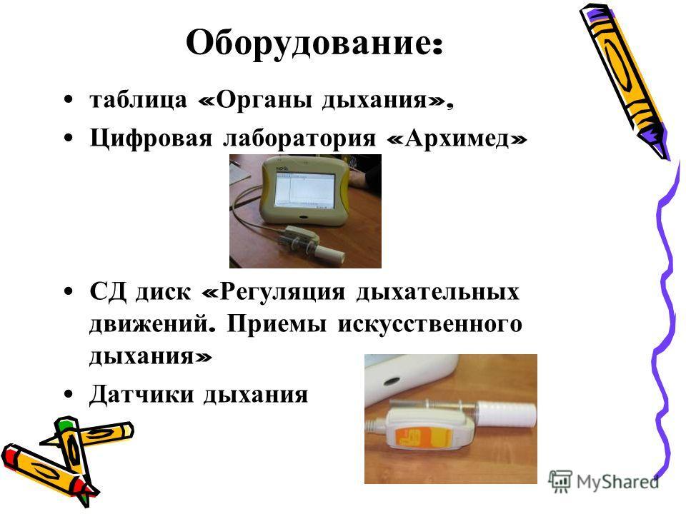 Оборудование : таблица « Органы дыхания », Цифровая лаборатория « Архимед » СД диск « Регуляция дыхательных движений. Приемы искусственного дыхания » Датчики дыхания