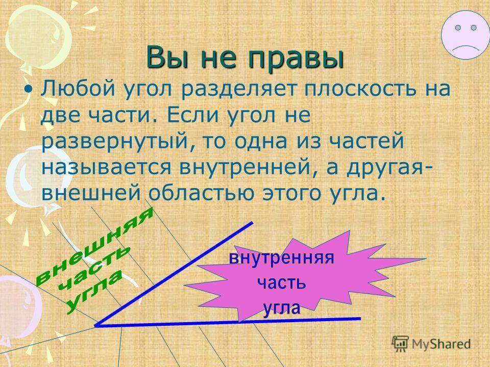 Вы не правы Любой угол разделяет плоскость на две части. Если угол не развернутый, то одна из частей называется внутренней, а другая- внешней областью этого угла.