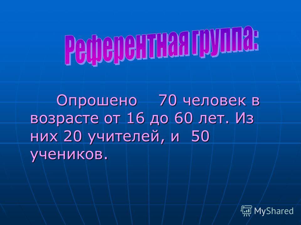 Опрошено 70 человек в возрасте от 16 до 60 лет. Из них 20 учителей, и 50 учеников.