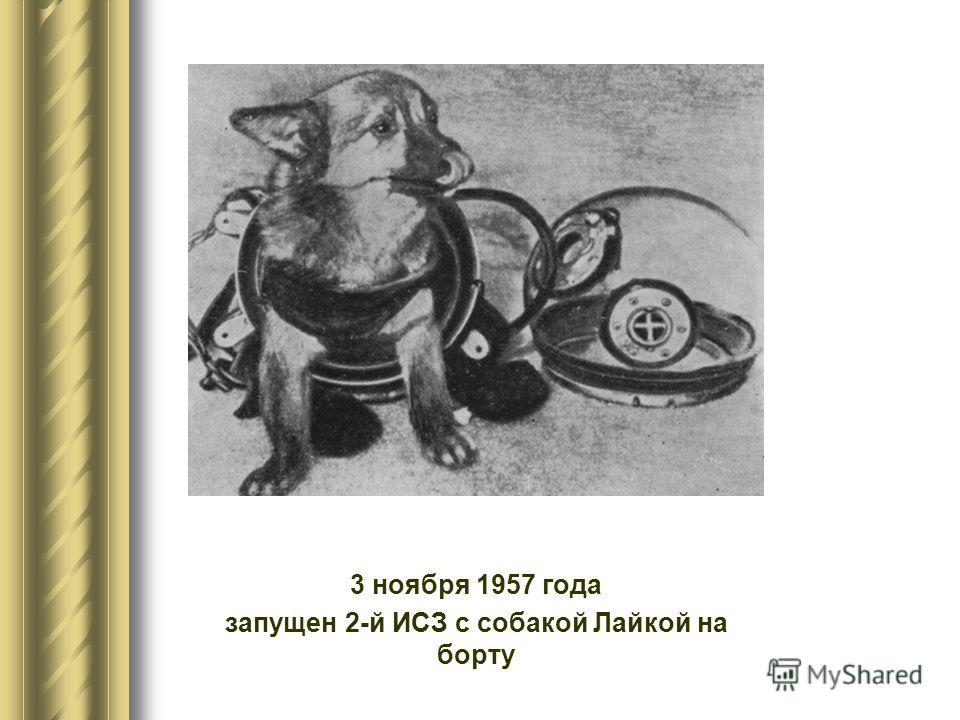 3 ноября 1957 года запущен 2-й ИСЗ с собакой Лайкой на борту