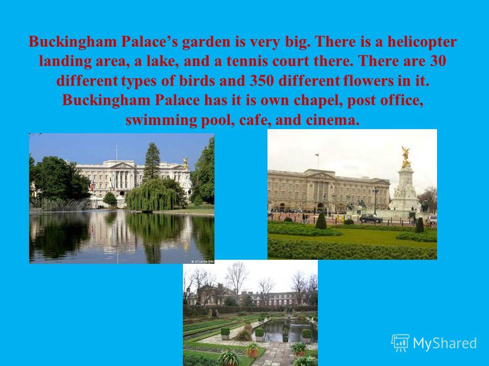 Buckingham Palaces garden is very big. There is a helicopter landing area, a lake, and a tennis court there. There are 30 different types of birds and 350 different flowers in it. Buckingham Palace has it is own chapel, post office, swimming pool, ca