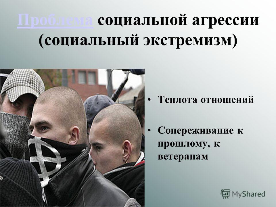 ПроблемаПроблема социальной агрессии (социальный экстремизм) Теплота отношений Сопереживание к прошлому, к ветеранам