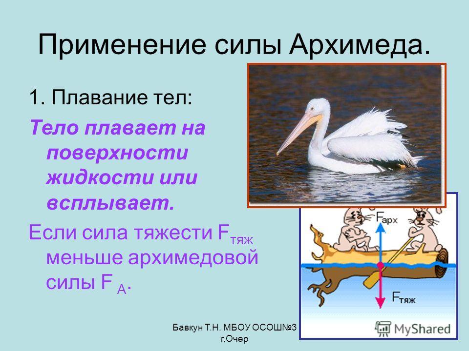 Бавкун Т.Н. МБОУ ОСОШ3 г.Очер Применение силы Архимеда. 1. Плавание тел: Тело плавает на поверхности жидкости или всплывает. Если сила тяжести F тяж меньше архимедовой силы F А.