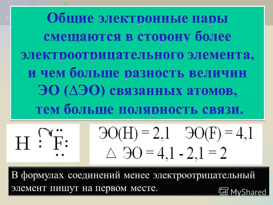 В формулах соединений менее электроотрицательный элемент пишут на первом месте. В формулах соединений менее электроотрицательный элемент пишут на первом месте.