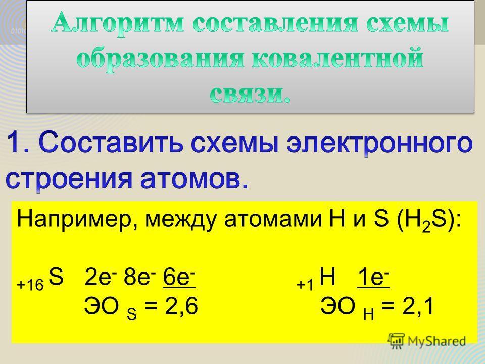 Например, между атомами H и S (H 2 S): +16 S 2е - 8е - 6е - +1 H 1е - ЭО S = 2,6 ЭО Н = 2,1