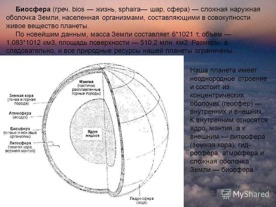 Биосфера (греч. bios жизнь, sphaira шар, сфера) сложная наружная оболочка Земли, населенная организмами, составляющими в совокупности живое вещество планеты. По новейшим данным, масса Земли составляет 6*1021 т, объем 1,083*1012 км3, площадь поверхнос