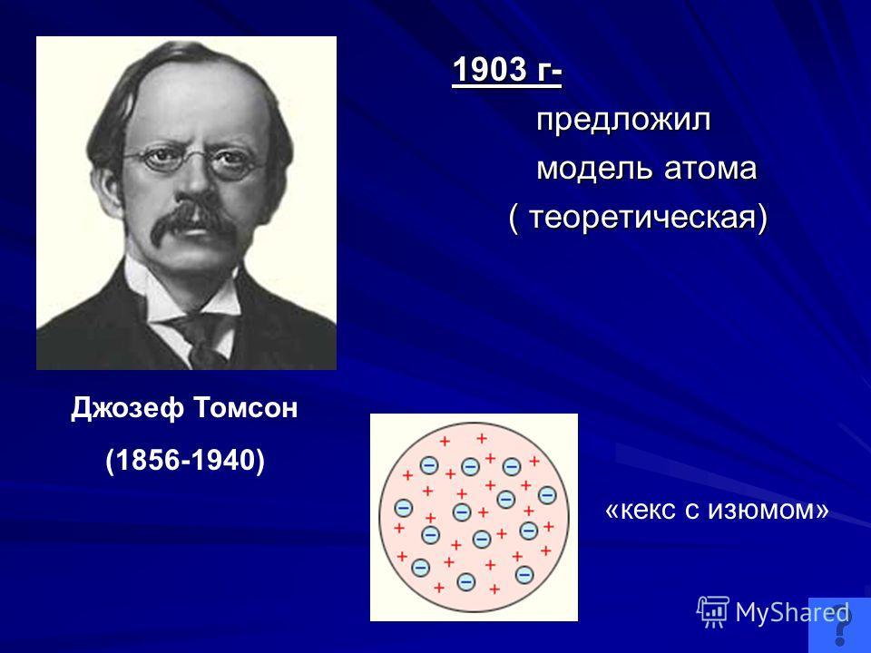 1903 г- предложил предложил модель атома модель атома ( теоретическая) ( теоретическая) Джозеф Томсон (1856-1940) «кекс с изюмом»