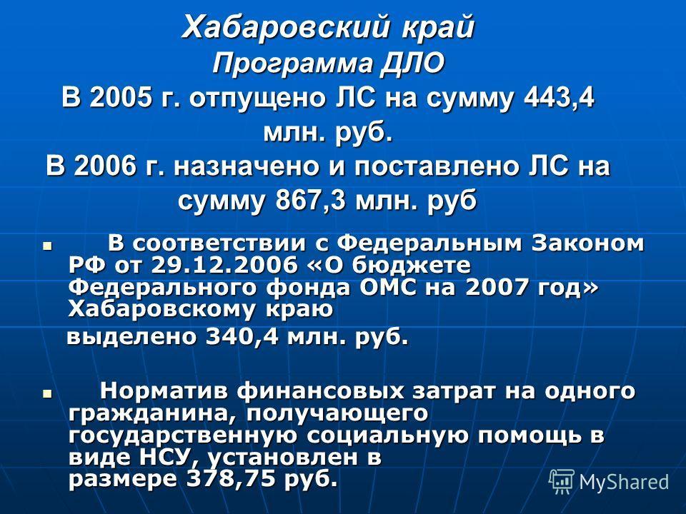 Хабаровский край Программа ДЛО В 2005 г. отпущено ЛС на сумму 443,4 млн. руб. В 2006 г. назначено и поставлено ЛС на сумму 867,3 млн. руб В соответствии с Федеральным Законом РФ от 29.12.2006 «О бюджете Федерального фонда ОМС на 2007 год» Хабаровском