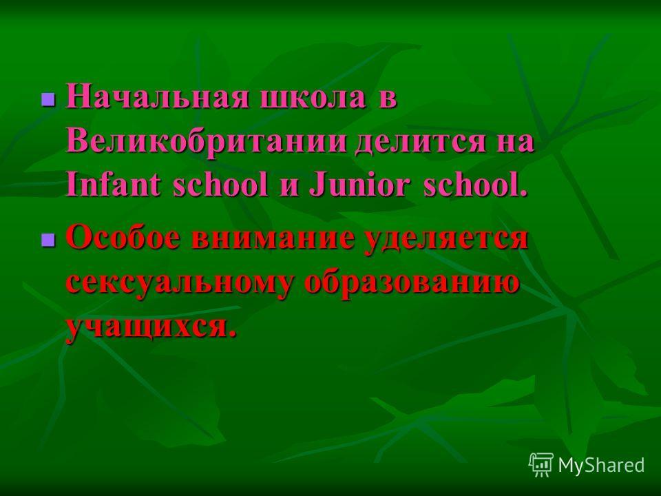 Начальная школа в Великобритании делится на Infant school и Junior school. Особое внимание уделяется сексуальному образованию учащихся.