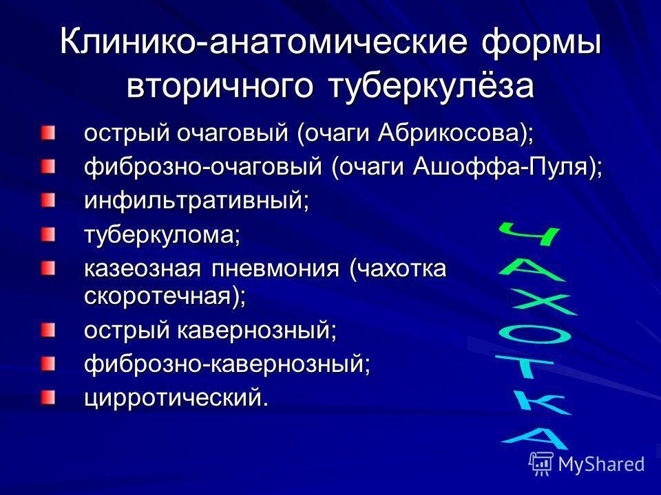 острый очаговый (очаги Абрикосова); фиброзно-очаговый (очаги Ашоффа-Пуля); инфильтративный;туберкулома; казеозная пневмония (чахотка скоротечная); острый кавернозный; фиброзно-кавернозный;цирротический. Клинико-анатомические формы вторичного туберкул