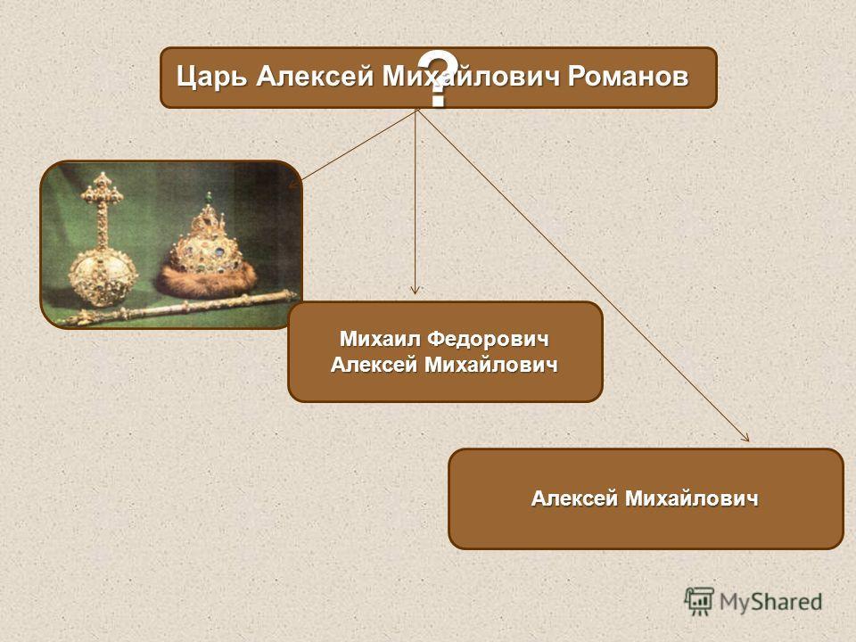 ? Михаил Федорович Алексей Михайлович Царь Алексей Михайлович Романов