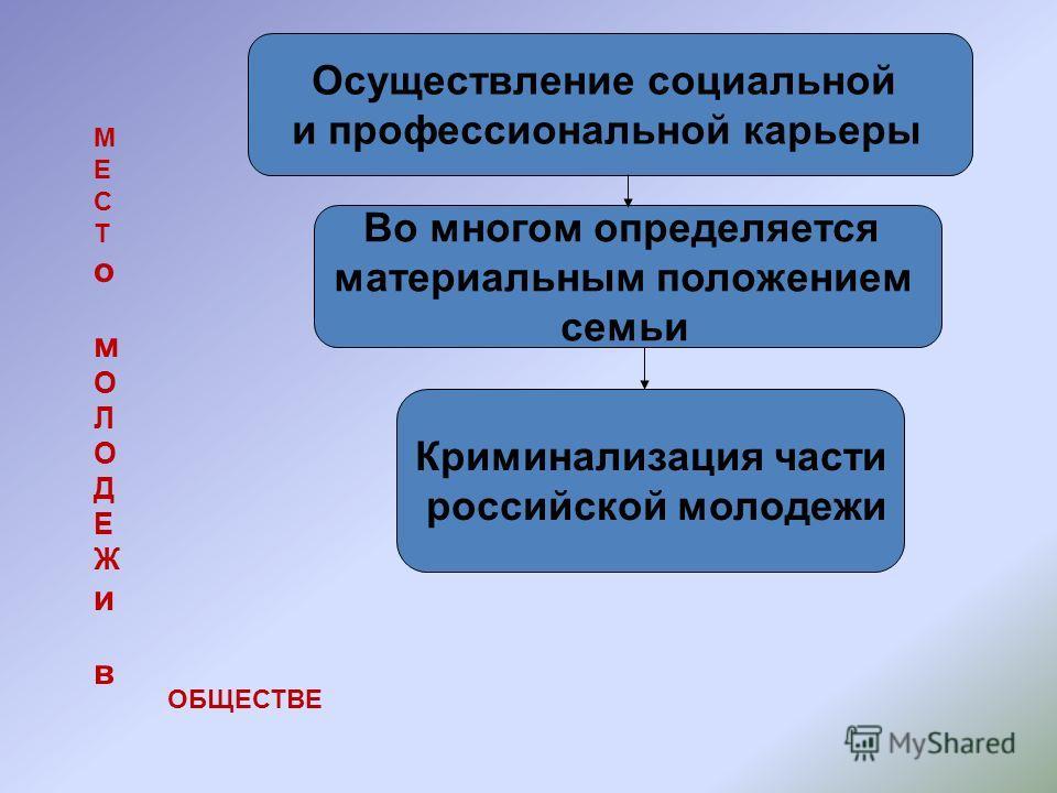 Осуществление социальной и профессиональной карьеры Во многом определяется материальным положением семьи Криминализация части российской молодежи МЕСТомОЛОДЕЖивМЕСТомОЛОДЕЖив ОБЩЕСТВЕ