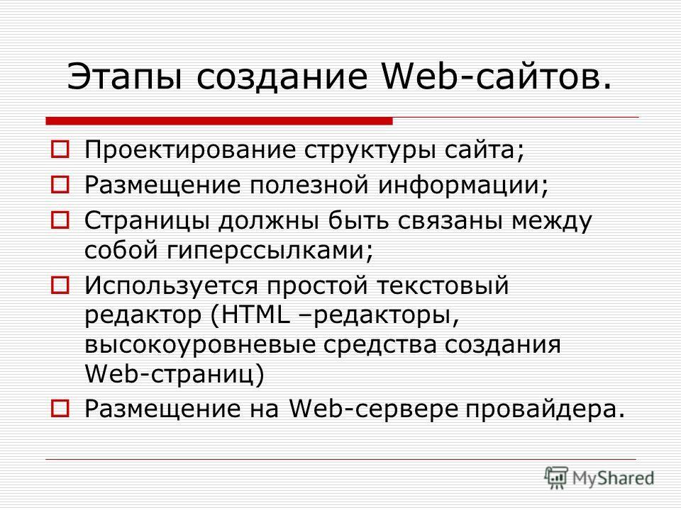 Этапы создание Web-сайтов. Проектирование структуры сайта; Размещение полезной информации; Страницы должны быть связаны между собой гиперссылками; Используется простой текстовый редактор (HTML –редакторы, высокоуровневые средства создания Web-страниц