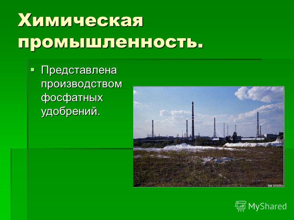 Химическая промышленность. Представлена производством фосфатных удобрений. Представлена производством фосфатных удобрений.