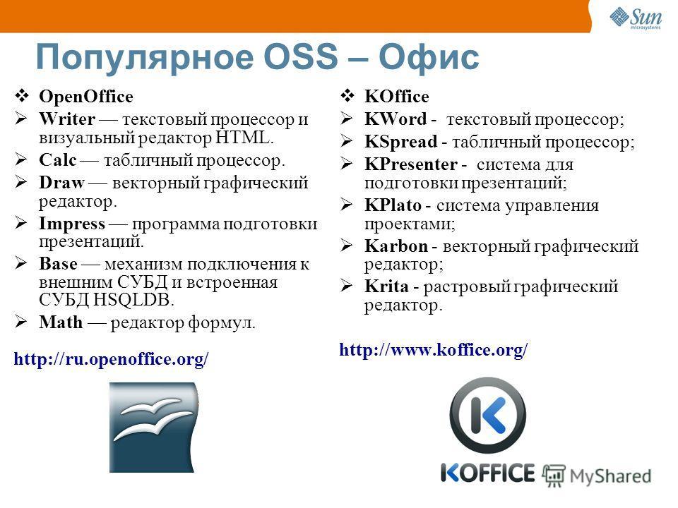 Популярное OSS – Офис OpenOffice Writer текстовый процессор и визуальный редактор HTML. Calc табличный процессор. Draw векторный графический редактор. Impress программа подготовки презентаций. Base механизм подключения к внешним СУБД и встроенная СУБ