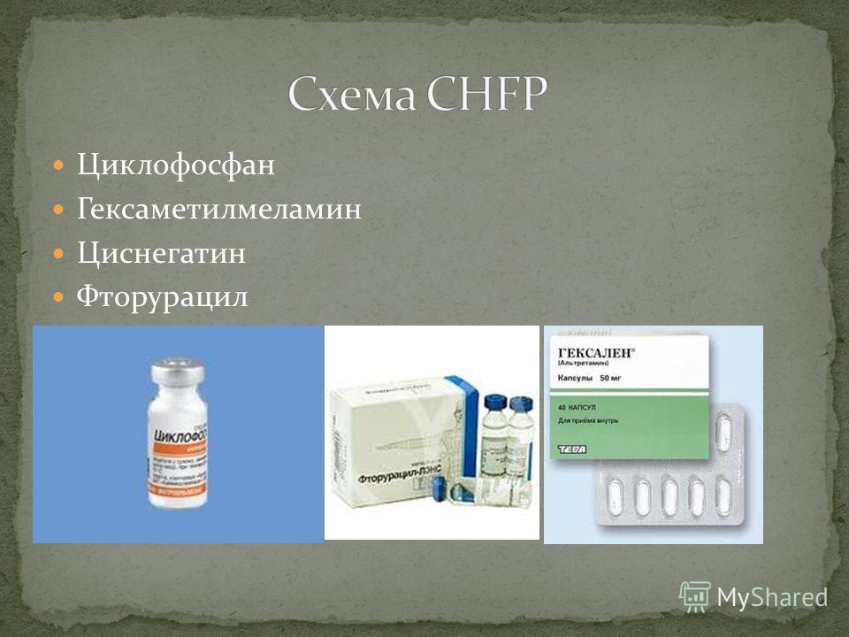 Циклофосфан Гексаметилмеламин Циснегатин Фторурацил