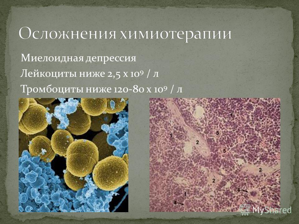 Миелоидная депрессия Лейкоциты ниже 2,5 х 10 9 / л Тромбоциты ниже 120-80 х 10 9 / л