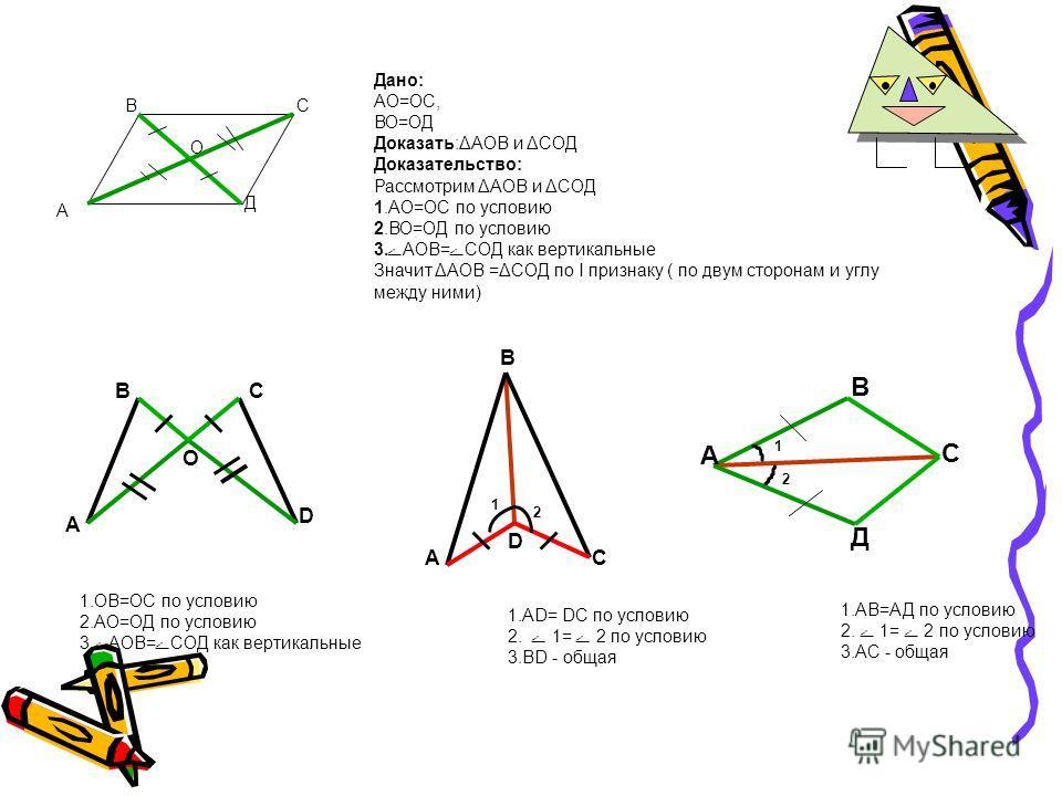 Первый признак равенства треугольников Если две стороны и угол между ними одного треугольника соответственно равны двум сторонам и углу между ними другого треугольника, то такие треугольники равны АВ С А1А1 В1В1 С1С1 ДАНО АВ= А 1 В 1\ АС=А 1 С 1 ے А