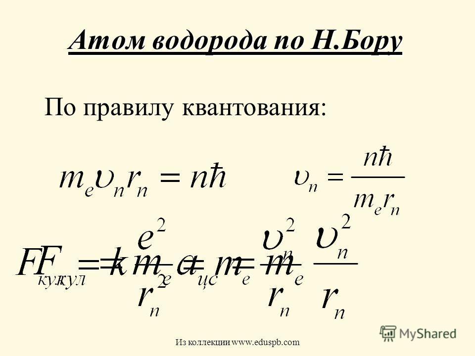 Атом водорода по Н.Бору По правилу квантования: Из коллекции www.eduspb.com