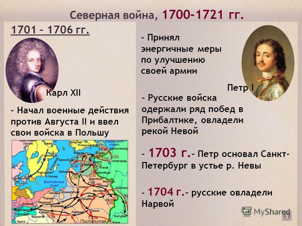 Северная война, 1700-1721 гг. Карл XII - Начал военные действия против Августа II и ввел свои войска в Польшу 1701 – 1706 гг. Петр I - Принял энергичные меры по улучшению своей армии - Русские войска одержали ряд побед в Прибалтике, овладели рекой Не
