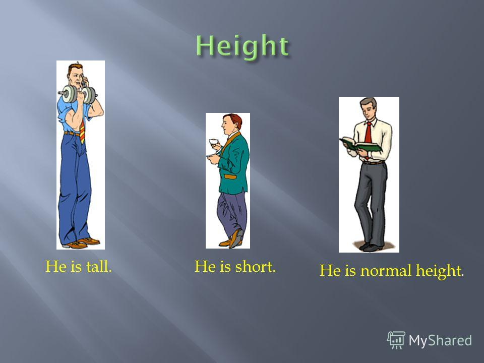 He is tall.He is short. He is normal height.