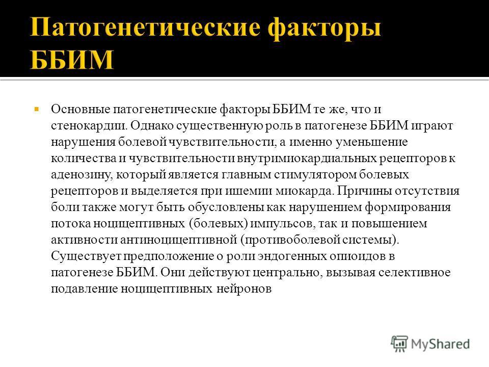 Основные патогенетические факторы ББИМ те же, что и стенокардии. Однако существенную роль в патогенезе ББИМ играют нарушения болевой чувствительности, а именно уменьшение количества и чувствительности внутримиокардиальных рецепторов к аденозину, кото
