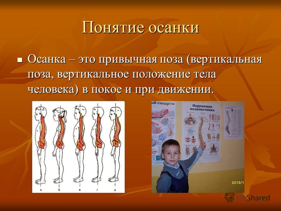Понятие осанки Осанка – это привычная поза (вертикальная поза, вертикальное положение тела человека) в покое и при движении. Осанка – это привычная поза (вертикальная поза, вертикальное положение тела человека) в покое и при движении.