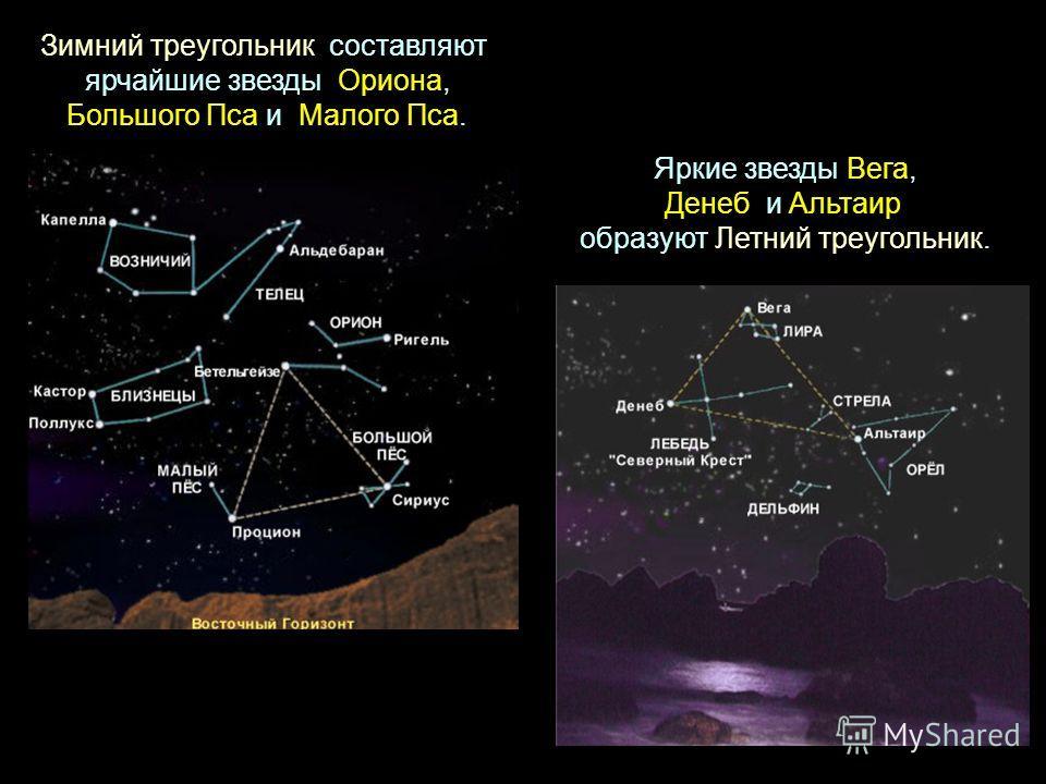 Зимний треугольник составляют ярчайшие звезды Ориона, Большого Пса и Малого Пса. Яркие звезды Вега, Денеб и Альтаир образуют Летний треугольник.